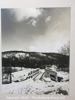 "Photo, Positive, B&W, Historical, Americana, foot bridge. Measures approximately 16"" X 20"" on Photo Board."