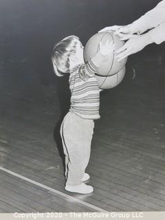 """Photo, Print, B&W, Historical, Americana, Basketball. Measures approximately 16"""" X 20"""" on Photo Board."""