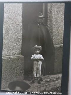 """Photo, Print, B&W, Historical, S. American child in doorway. Measures approximately 16"""" X 20"""" on Photo Board."""