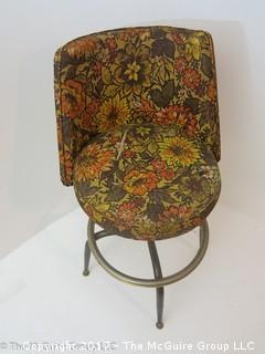 Mid-Century Swiveling Stool (note cut to fabric on seat)