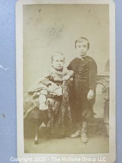 Cartes-de-Visite CDV Antique Cabinet Photo Card - Two Boys Photographer JM Elliot Columbus Ohio