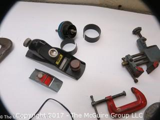 Tools including new and old pipe wrenches, Dremel type tool, C clamps, hole saws, planes, ....