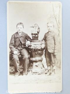 Cartes-de-Visite CDV Antique Cabinet Photo Card - Two Boys Photographer O. S. Saurman, Norristown, PA