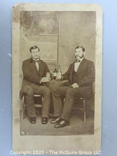 Cartes-de-Visite CDV Antique Cabinet Photo Card - Two Men Having a Drink