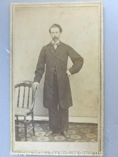 Cartes-de-Visite CDV Antique Cabinet Photo Card - Man Standing next to Chair - Photographer O. C. Knox Massachusetts.