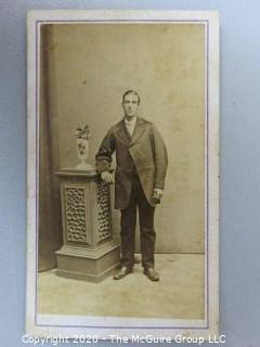 Cartes-de-Visite CDV Antique Cabinet Photo Card - Gentleman next to Column - Royal Photographic Studio, Waterford