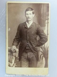 Cartes-de-Visite CDV Antique Cabinet Photo Card - Man Standing Next to Chair