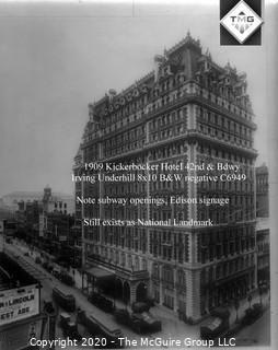 """8 x 10"""" Film Negative; Irving Underhill; Knickerbocker Bldg. New York City (0030A)"""