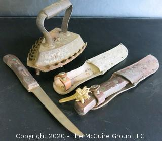 2 Knives in Tooled Leather Sheaths and 1 SAD Iron with Trivet.