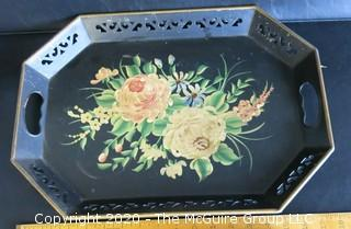 2 Heavy Metal Hand Stenciled Toleware Trays with Pierced Rims.