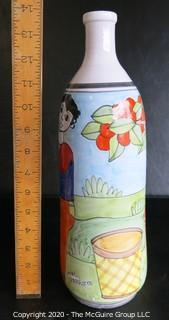"Nino Parrucca Hand Painted Ceramic Pottery Vase. Signed by Artist. Made in Italy.  Measures Approximately 14"" Tall."