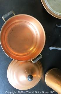 4 Heavy Copper Serving and Cooking Pieces.