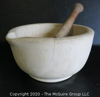 "Large Antique ACME Earthenware Pharmacy Mortar & Pestle. Measures Approximately 10"" in Diameter and 6"" tall."
