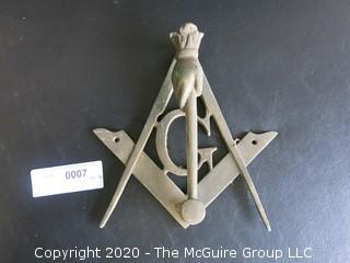 """Brass Masonic Freemasons Door Knocker in the Shape of a Compass Square and Hand With Mallet.  Measures Approximately 7"""" long."""