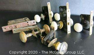 Collection of Antique Door Knobs and Mortise Lock Mechanism Hardware.  Glass, Ceramic and Victorian Brass with Intricate Pattern.
