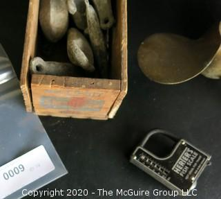 Box of Fishing Weights, Fish Scale and 3 Blade Brass Propeller.