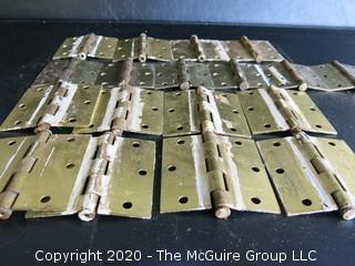 Lot of 18 Vintage Brass Door Hinges.