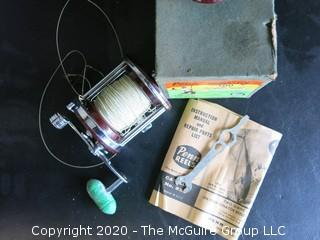 Vintage Penn Jigmaster 500 Fishing Reel. Mint in Box. Includes Instructions, Wrench and Extra Spool.