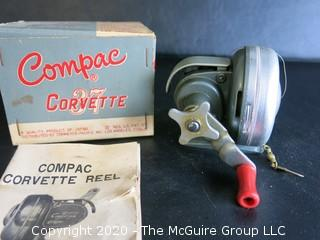 Vintage Compac Crovette 37 Fishing Reel.   Mint in Box. Includes Instructions.  Made in Japan.