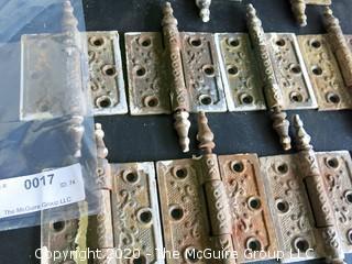 Set of 10 Brass Victorian Door Hinges with Ornate Design.  2 Have damage.
