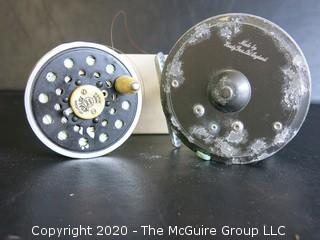 Fly Fishing Reel.  Hardy Brothers Ltd (with rust) and Pflueger Medalist spool.