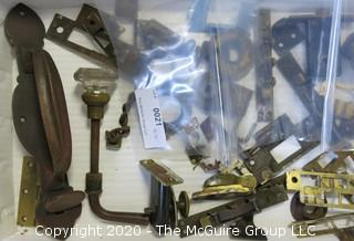 Lot of Vintage Brass Door and Lock Hardware and 2 Padlocks.