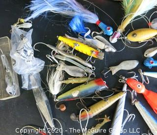 Group of Large Vintage Fishing Lures in Bright Colors and Materials.