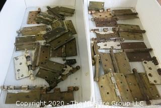 Large Group of Brass Door Hinges.