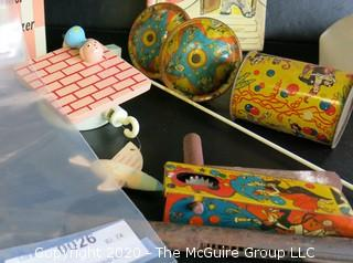 Group of Vintage Children's Toys and Mobile. Includes Metal Toy Rifle & Three Pressed Tin Noise Makers,