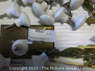 Large Collection of Brass and Ceramic Door Knobs and Hardware.