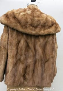 Light Brown Short Fur Coat with Shawl Collar.  Monogrammed.