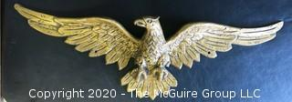 """Large Gilt Tone Metal Eagle Wall Mount Adornment.  Measures approximately 35""""."""