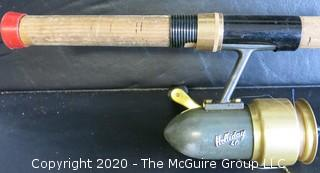 "Vintage Holiday 40 Fishing Spinning Reel and 75"" Fly Fishing Rod."