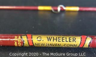"""Vintage G. Wheeler of New Haven Connecticut Bamboo Fly Fishing Rod, Model No 66 - 70""""."""