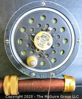 Vintage Pflueger Medalist Fly Fishing Reel No.1494 Made in USA, and Vintage Fishing Rod - 98""