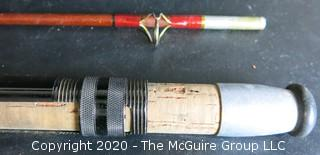 Vintage Bamboo or Cane Fly Fishing Rod with Cork Handle
