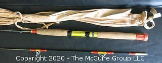 "Vintage Fly Fishing rod with Rubber Grip by Davol, 85"", with Cloth Covering Bag."