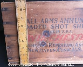 """Winchester Staynless Small Arms Ammunition Loaded Shot Shells Wood Crate.  Measures approximately 14"""" x 9"""" x 9""""."""