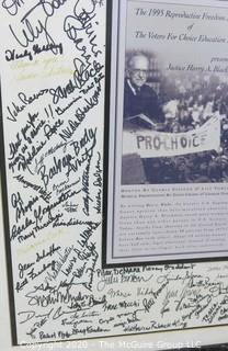 """20 x 25"""" framed poster under glass of Award given to U.S. Supreme Court Justice Harry A. Blackman by Voters for Choice Education Fund; signed by attendees including celebrities"""