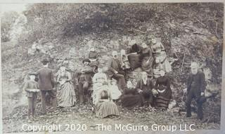 """4 x 7"""" B&W Image on photo board of 19th c family gathering"""