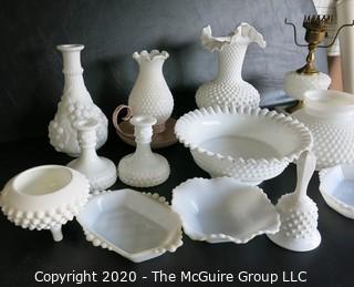 Thirteen Pieces of Hobnail Milk Glass.