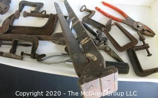 Group of Vintage Tools Includes C Clamps, Monkey Wrench and Fence Wire Cutter or Pincer.