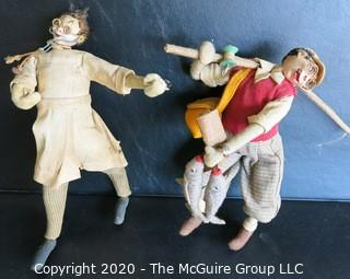 "Two Vintage Klumpe-Roldan Dolls - Doctor and Fisherman.  Made in Spain.  Measures approximately 9."" and 10 1/2"" tall"