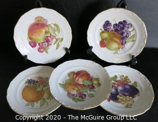 "Set of 5 House of Goebel Porcelain Fruit Plates.  Measure approximately 8"" in diameter."