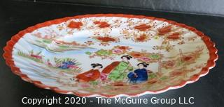 """Vintage Asian Hand Painted Porcelain Plate.  Measures approximately 8"""" in diameter. Hairline Crack in Edge.  Please review photo."""