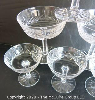 """Set of 6 Cut Crystal Champange Coupes. Measures Approximately 4 1/2"""" X 4""""."""