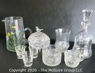 Group of 9 Pieces of Glassware and Crystal.  Chip in decanter stopper.