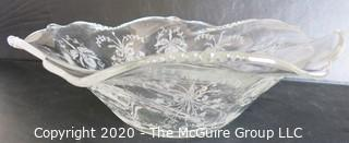 """Etched Crystal Bowl in Floral Design. Measures approximately 12"""" x 4""""."""