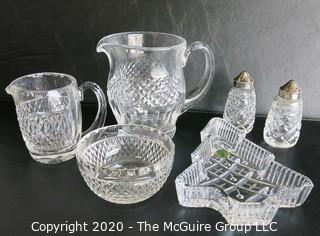 Six Pieces of Waterford Cut Crystal. Includes 2 Pitchers, Bowl, Christmas Dish & Pepper Shakers.