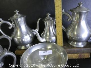 Large Collection of Pewter Ware and Serving Pieces.  Several made by Woodbury Pewterers ATC.  Some pieces have dents.